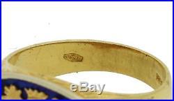 Mens 1960s Vintage Estate 18k Yellow Gold Crest Blue Enamel Ring