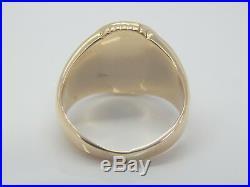 Mens Antique Vintage Oval Cabochon 15 x 13mm Jade Ring 9.2 Gram 10K Gold Size 8