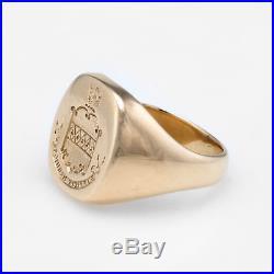 Mens Crest Signet Ring Vintage 14k Yellow Gold Estate Fine Jewelry Heirloom 8.25