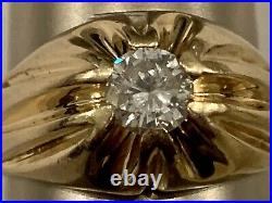 Mens Diamond Ring Solitaire Solid 14k Gold Estate / Vintage / Gypsy