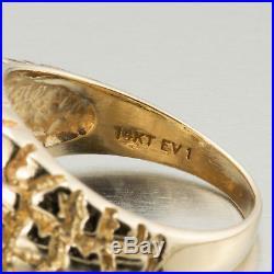 Mens Fine Vintage Estate 1980s 14k Gold Nugget Diamond Cluster Ring 0.70ctw