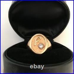 Mens HEAVY vintage LARGE CUSTOM diamond solid 14k yellow gold ring F monogram