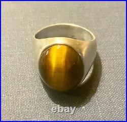 Mens Large Oval Tiger Eye Ring In Sterling Silver Vintage