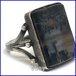 Mens Navajo Petrified Wood Agate Ring Sz 8.75 Vtg Sterling Silver 8g Harvey Era