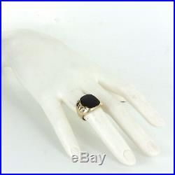 Mens Onyx Signet Ring Vintage 10k Yellow Gold Estate Fine Jewelry Pre Owned
