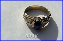 Mens Ring 14K Yellow Gold Blue Star Sapphire Natural 10 Grams Size 10