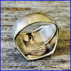 Mens Thunderbird Ring Size 10 Bell Trading Post Vintage Sterling Silver Old Pawn