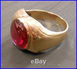 Mens VINTAGE 14mm x 11.5mm OVAL GENUINE GARNET 10K GOLD Ring 8.4 gr Size 12 1/2
