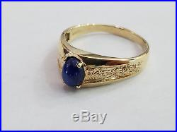 Mens Vintage 10K Yellow Gold & Blue Star Sapphire Ring Size 13 8220