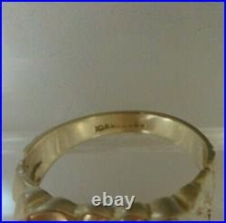 Mens Vintage 10kt Solid Yellow Gold Nugget Diamond Ring Magic Glo Size 9.75