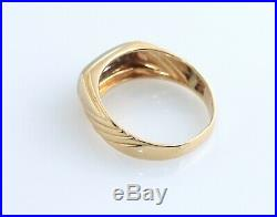 Mens Vintage 14K 3 Diamond Ring Two Tone Gold. 15 CT Wedding Gents Band SZ 13