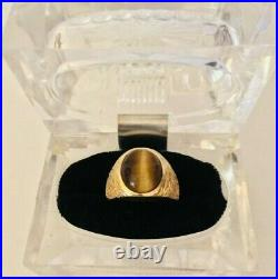 Mens Vintage 14k Solid Yellow Gold Tiger Eye Ring, Textured Sides, Size 9.5