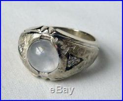 Mens Vintage 14k White Gold GENUINE Grey Star Sapphire+Diamond RingSz 811gr