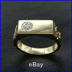 Mens Vintage 14k Yellow Gold Over 0.15 Ct CZ Nugget Wedding Band Ring Free Size