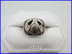 Mens Vintage 14kt Yellow Gold, Diamond, Masonic Ring Size 12 #w130