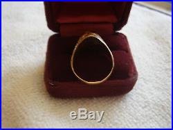 Mens Vintage 18k Solid Yellow Gold Tigers Eye Ring