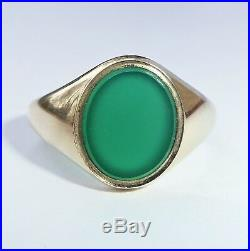Mens Vintage 9ct Gold Green Onyx Signet Ring, Size O O1/2