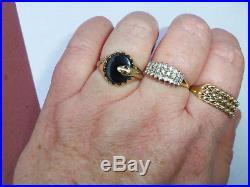 Mens Vintage 9ct Gold Onyx & Garnet Snake Signet Ring, Size O