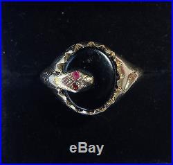 Mens Vintage 9ct Gold Onyx & Garnet Snake Signet Ring, Size U