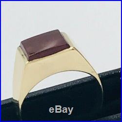 Mens Vintage 9ct Yellow Gold Carnelian Set Signet Ring sz R #475