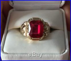 Mens Vintage Art Deco 10k Gold Ruby Ring 7.7 grams Size 12