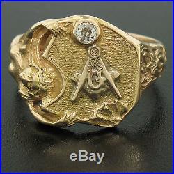 Mens Vintage Art Nouveau Style 14K Gold Large Masonic Transitional Diamond Ring