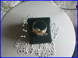 Mens Vintage Disney 14k Gold Happy 90th Birthday Mickey Mouse Signet Ring