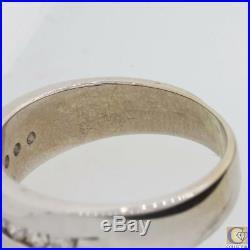 Mens Vintage Estate 14K White Gold Diamond Wedding Band Ring M8