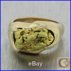 Mens Vintage Estate Solid 24k Alaskan Gold Nugget 14k Yellow Gold Cocktail Ring