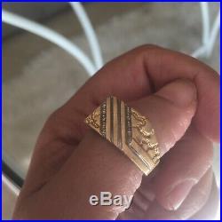 Mens Vintage Gold Ring Diamond