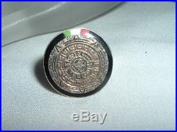 Mens Vintage Mexican Sterling Ring Coral Onyx Jade Aztec Calendar Sz 10.5