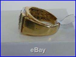 Mens Vintage Retro 14K Yellow Gold Diamond Cluster Ring