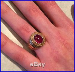 Mens Vintage Ruby Ring 10k Yellow Gold Heavy 15.3 Grams