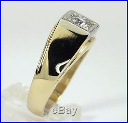 Mens vintage diamond solitaire ring 14K yellow gold G VS2 round brilliant. 80CT