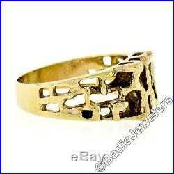 Modernist Vintage Mens 14k Yellow Gold. 17ct Round Diamond Open Nugget Band Ring