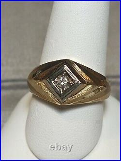 NEW Vintage 10kt Yellow Gold Men's Round Diamond Ring Sz 10 BARNETT DAVIS USA