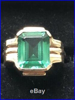 NR Mens 10k Vintage Emerald Art Deco Retro Ring 7.9 grams