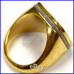 NWT $395 Gianni Versace Vintage Finish Gold Pearl GV Logo Men's Ring AUTHENTIC