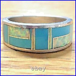 Navajo Inlay Turquoise Opal Wedding Band Ring Sz 10.5 VTG 9mm Men Signed Tolino