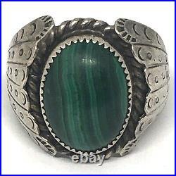 Navajo Malachite Mens Ring Sz 10.5 Sterling Silver 14g VTG 1960 70s Signed