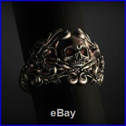 New Stylish Gothic Vintage Skull Mens Biker Ring in 925 Sterling Silver Ring