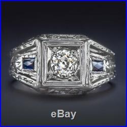 OLD MINE CUT DIAMOND 20K WHITE GOLD RING 0.55ct ART DECO VINTAGE SAPPHIRE MENS