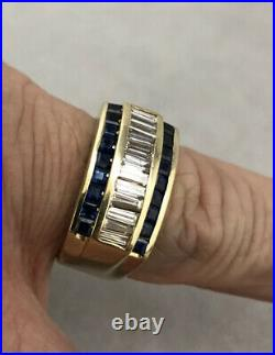OUTSTANDING VINTAGE 14K YELLOW GOLD MENS. 60ct DIAMOND & SAPPHIRE PINKY RING