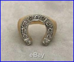Outstanding 14k Yellow Gold Vintage Estate Mens Horseshoe Diamond Mens Ring