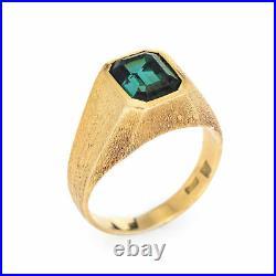 Pine Green Tourmaline Ring Vintage 18k Yellow Gold Sz 8.5 Men's Estate Jewelry