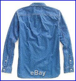 Polo Ralph Lauren Double Rl Rrl Indigo Dyed Ring Print Jack Rabbit Work Shirt