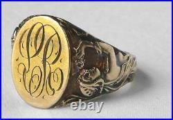 Rare 14k Gold Art Nouveau JR Wood Nude Women Figural Mens Signet Ring 9.7g Sz 12