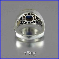 Real 10k Two Tone Gold 1.50ct Blue Sapphire & Diamond Vintage Men's Wedding Ring