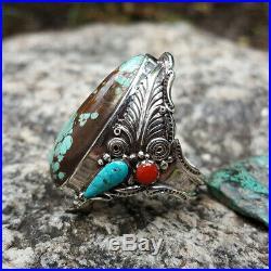 Real Blue Turquoise Ring Men Women Vintage 925 Silver NAVAJO American Indian