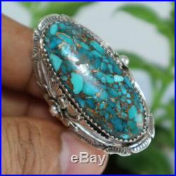 Real Blue Turquoise Ring Men Women Vintage Sterling 925 Silver NAVAJO Indian